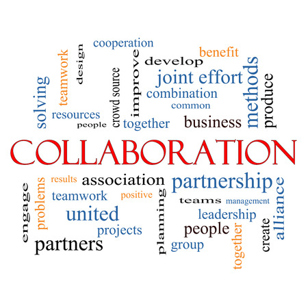 crowd source: Collaboration Word Cloud Concept with great terms such as together, people, teams and more.