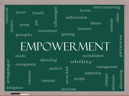 Empowerment Word Cloud Concept on a Blackboard with great terms such as granting, business, duties and more. photo
