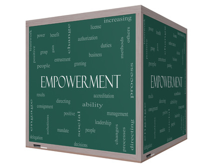 Empowerment Word Cloud Concept on a 3D cube Blackboard with great terms such as granting, business, duties and more. photo