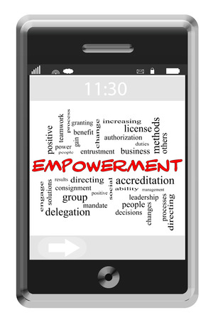 Empowerment Word Cloud Concept of Touchscreen Phone with great terms such as results, business, people and more. photo