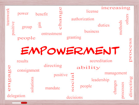 granting: Empowerment Word Cloud Concept on a Whiteboard with great terms such as granting, business, duties and more.