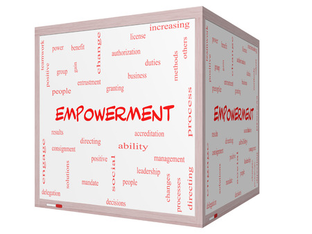 granting: Empowerment Word Cloud Concept on a 3D cube Whiteboard with great terms such as granting, business, duties and more. Stock Photo