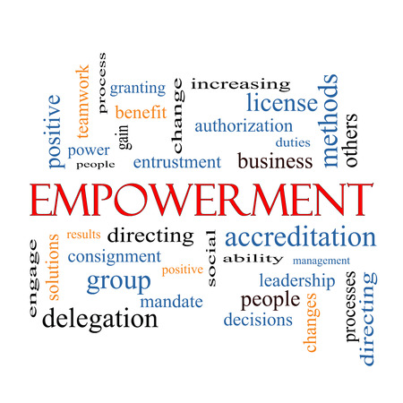 Delegation: Empowerment Word Cloud Concept with great terms such as granting, business, duties and more. Stock Photo