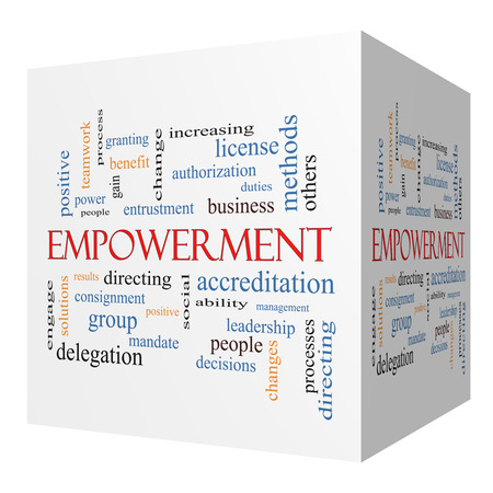 Empowerment 3D cube Word Cloud Concept with great terms such as granting, business, duties and more. Stock Photo