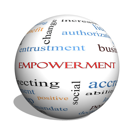 granting: Empowerment 3D sphere Word Cloud Concept with great terms such as granting, business, duties and more. Stock Photo