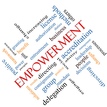 Empowerment Word Cloud Concept angled with great terms such as granting, business, duties and more. photo
