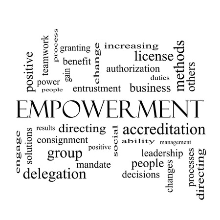 Empowerment Word Cloud Concept in black and white with great terms such as granting, business, duties and more. photo