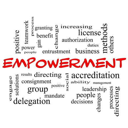 Empowerment Word Cloud Concept in red caps with great terms such as granting, business, duties and more. photo