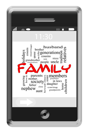 Family Word Cloud Concept of Touchscreen Phone with great terms such as home, caring, parents and more.