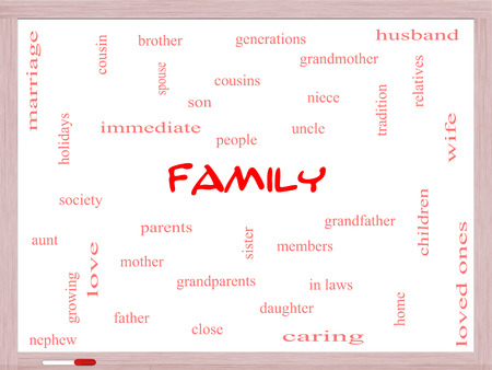 cousin: Family Word Cloud Concept on a Whiteboard with great terms such as loving, parents, home and more.