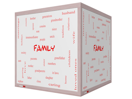 Family Word Cloud Concept on a 3D cube Whiteboard with great terms such as loving, parents, home and more. photo
