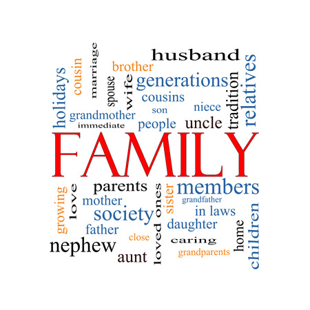 Family Word Cloud Concept with great terms such as loving, parents, home and more. Stock Photo
