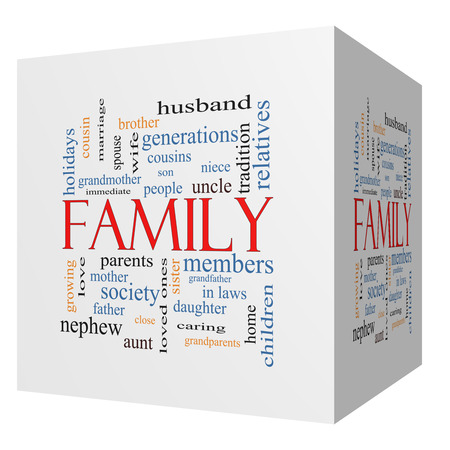 Family 3D cube Word Cloud Concept with great terms such as loving, parents, home and more.