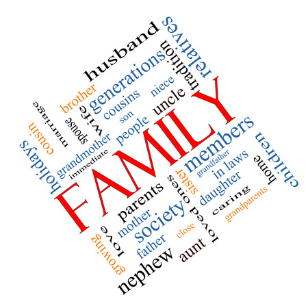 Family Word Cloud Concept angled with great terms such as loving, parents, home and more. photo