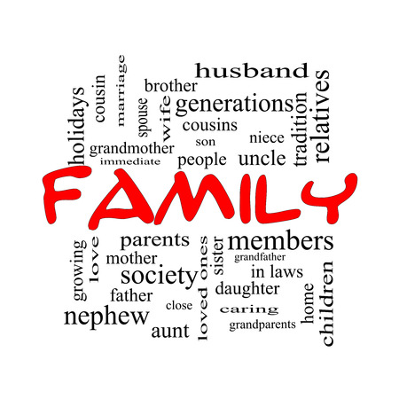 cousin: Family Word Cloud Concept in red caps with great terms such as loving, parents, home and more.