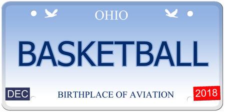 Een nep-imitatie Ohio kenteken met het woord basketbal en geboorteplaats van luchtvaart maken van een geweldig concept.