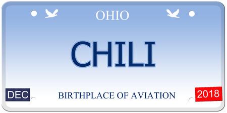 Een nep-imitatie Ohio kenteken met het woord chili en geboorteplaats van luchtvaart maken van een geweldig concept.