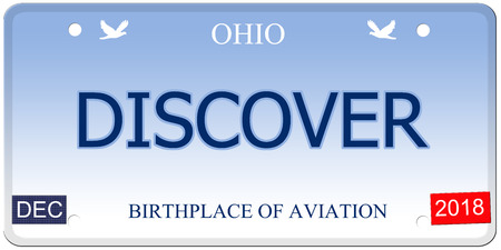 discover: A fake imitation Ohio License Plate with the word DISCOVER and Birthplace of Aviation making a great concept.