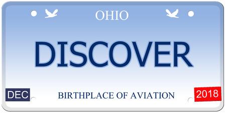 Een nep imitatie Ohio kenteken met het woord ontdekken en geboorteplaats van luchtvaart maken van een geweldig concept. Stockfoto