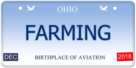 Een nep-imitatie Ohio kenteken met het woord landbouw en geboorteplaats van luchtvaart maken van een geweldig concept.