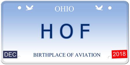 Een nep-imitatie Ohio kenteken met het woord HOF (Hall of Fame) en de geboorteplaats van luchtvaart maken van een geweldig concept.