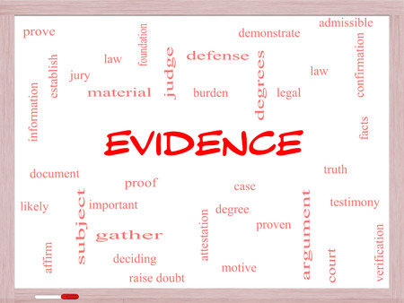 Evidence Word Cloud Concept on a Whiteboard with great terms such as proof, burden, material and more.