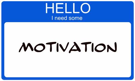 Hallo Ik heb Motivatie geschreven op een blauwe en witte naamplaatje sticker.