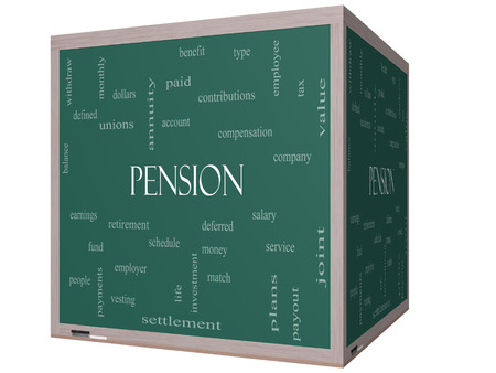 vesting: Pension Word Cloud Concept on a 3D cube Blackboard with great terms such as benefit, deferred, retirement and more.
