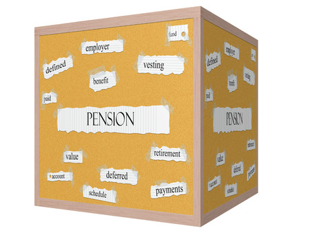 vesting: Pension 3D cube Corkboard Word Concept with great terms such as fund, vesting, benefit and more. Stock Photo