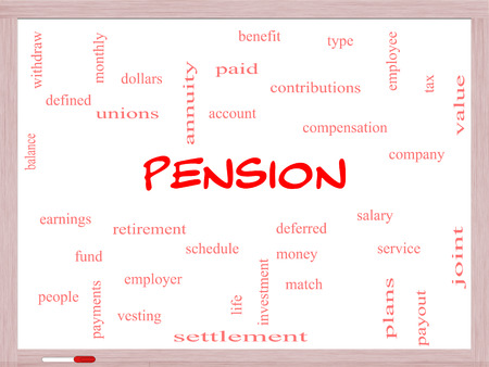 vesting: Pension Word Cloud Concept on a Whiteboard with great terms such as benefit, deferred, retirement and more.
