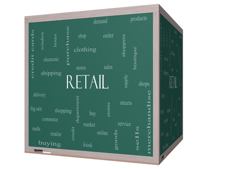 Retail Word Cloud Concept on a 3D cube Blackboard with great terms such as stores, shopping, sales and more. photo