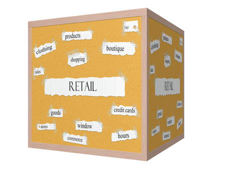 Retail 3D cube Corkboard Word Concept with great terms such as products, boutique, sales and more.