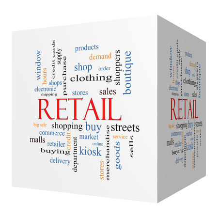 Retail 3D cube Word Cloud Concept with great terms such as stores, shopping, sales and more. photo