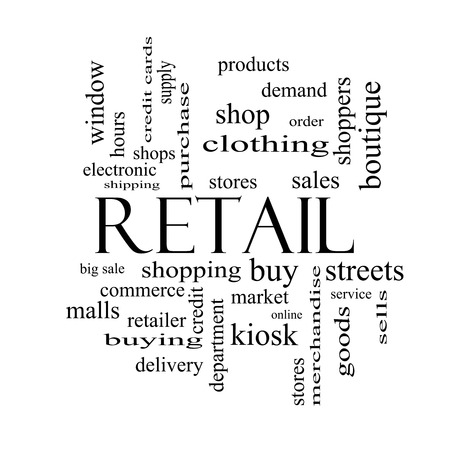 electronic commerce: Retail Word Cloud Concept in black and white with great terms such as stores, shopping, sales and more.