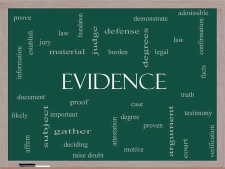 prove: Evidence Word Cloud Concept on a Blackboard with great terms such as proof, burden, material and more.