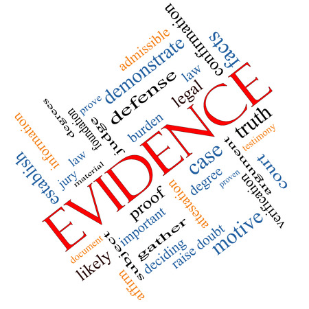 Evidence Word Cloud Concept angled with great terms such as proof, burden, material and more. Stock Photo