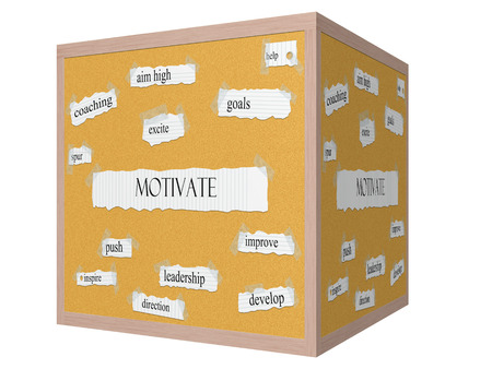Motivate 3D cube Corkboard Word Concept with great terms such as aim high, goals, push and more.