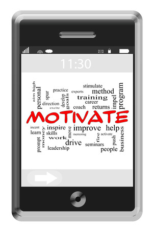 Motivate Word Cloud Concept of Touchscreen Phone with great terms such as help, inspire, push and more. photo