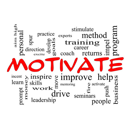 Motivate Word Cloud Concept in red caps with great terms such as improve, goals, inspire and more.