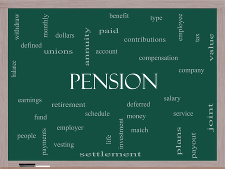 vesting: Pension Word Cloud Concept on a Blackboard with great terms such as benefit, deferred, retirement and more. Stock Photo