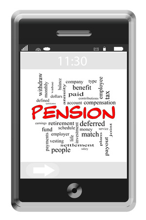 vesting: Pension Word Cloud Concept of Touchscreen Phone with great terms such as employer, benefit, paid and more. Stock Photo