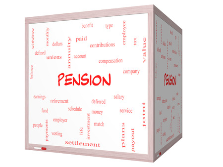 vesting: Pension Word Cloud Concept on a 3D cube Whiteboard with great terms such as benefit, deferred, retirement and more. Stock Photo