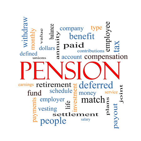 Pension Word Cloud Concept with great terms such as benefit, deferred, retirement and more. photo