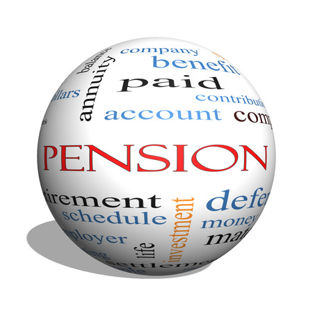 Pension 3D sphere Word Cloud Concept with great terms such as benefit, deferred, retirement and more.
