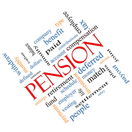 vesting: Pension Word Cloud Concept angled with great terms such as benefit, deferred, retirement and more. Stock Photo