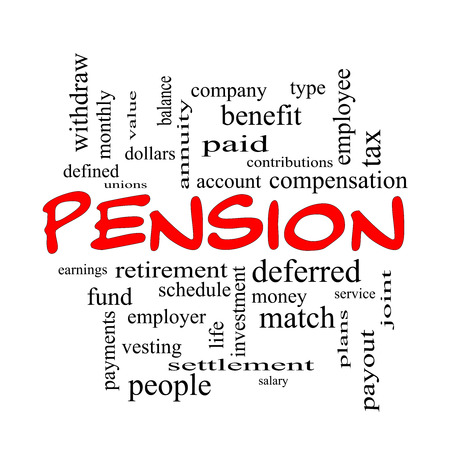 vesting: Pension Word Cloud Concept in red caps with great terms such as benefit, deferred, retirement and more. Stock Photo