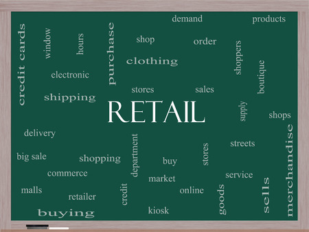 electronic commerce: Retail Word Cloud Concept on a Blackboard with great terms such as stores, shopping, sales and more. Stock Photo