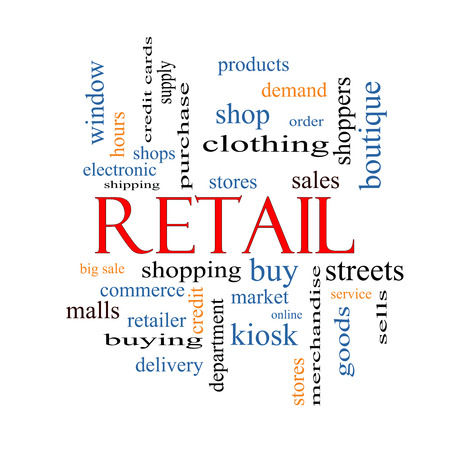 Retail Word Cloud Concept with great terms such as stores, shopping, sales and more. photo