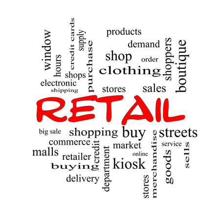 Retail Word Cloud Concept in red caps with great terms such as stores, shopping, sales and more. photo
