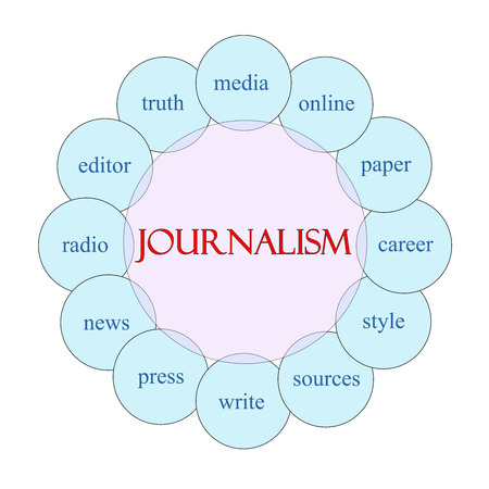 Journalsim concept circular diagram in pink and blue with great terms such as media, online, paper and more.
